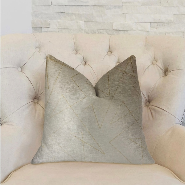 Plutus Gold Divinity Gold and Beige Luxury Throw Pillow