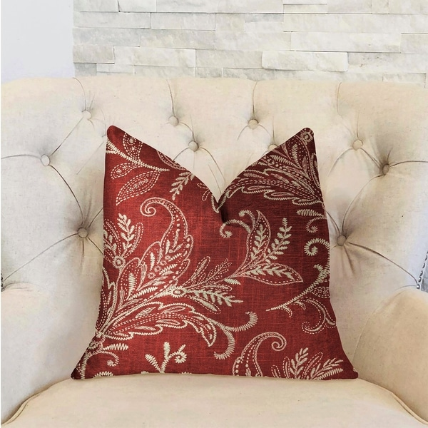 Plutus Berry Crest Vineyard Red and Beige Luxury Decorative Throw Pillow
