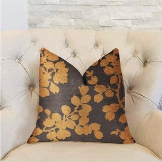 Plutus Whispering Willow Gold and Gray Luxury Decorative Throw Pillow