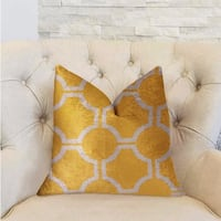 Plutus Honeycomb Yellow and Beige Luxury Decorative Throw Pillow