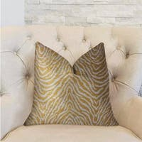 Plutus Oasis Waves Yellow and Beige Luxury Decorative Throw Pillow