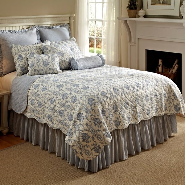 Sabrina French Toile 100 Cotton King Quilt Set