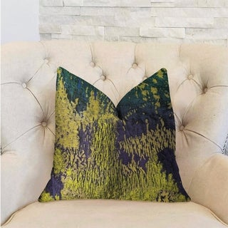 Plutus Emerald Rainforest Green, Yellow and Blue Luxury Throw Pillow