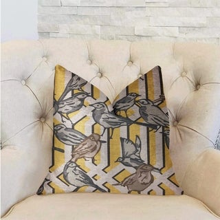 Plutus Song Bird Gardens Yellow, Beige and Gray Luxury Throw Pillow