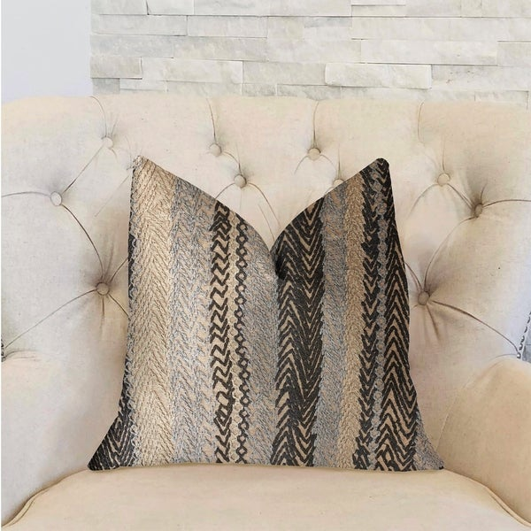 Plutus Grey Horizon Blue and Gray Luxury Decorative Throw Pillow