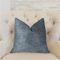 Plutus Teal Abyss Blue and Gold Luxury Decorative Throw Pillow