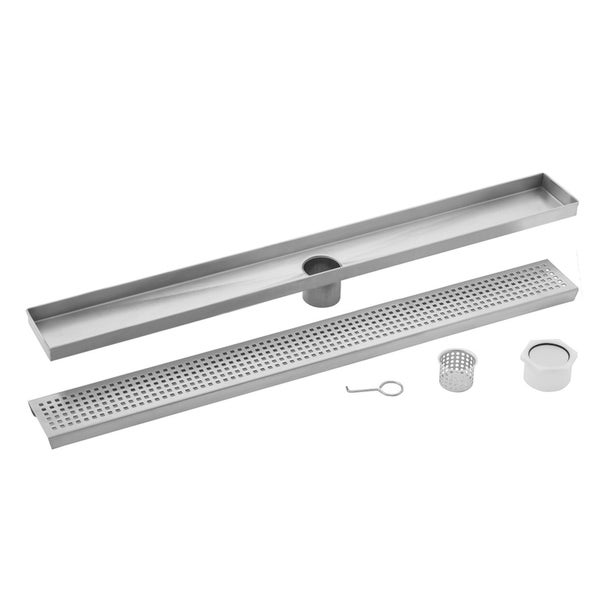 40 in. Stainless Steel Square Grate Linear Shower Drain