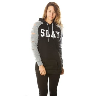 Ladies Hollowed Out Shoulder Fleece Pullove Sweater Jacket