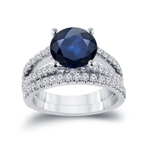 Auriya 1 3/4ct Blue Sapphire and 3/4ctw Diamond Engagement Ring Set 14k Gold