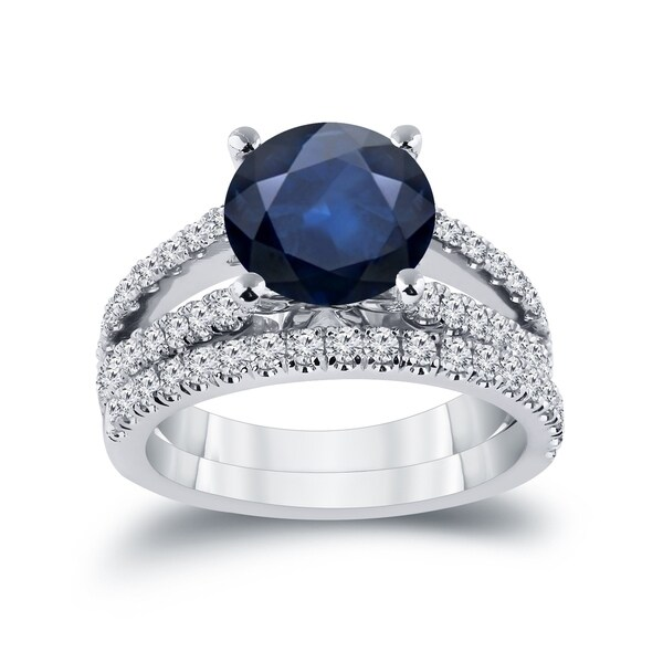 Auriya 1 3/4ct Blue Sapphire and 3/4ctw Diamond Engagement Ring Set 14k Gold. Opens flyout.
