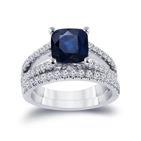 Auriya 2ct Cushion Cut Blue Sapphire and 3/4ctw Diamond Engagement Ring Set 14k Gold