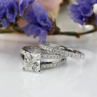 Auriya 14k Gold 2 5/8ct TDW Certified Princess-cut Diamond Engagement Ring Bridal Set