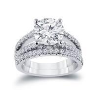 Auriya 14k Gold 2 5/8ct TDW Certified Round Split-Shank Diamond Engagement Ring Set