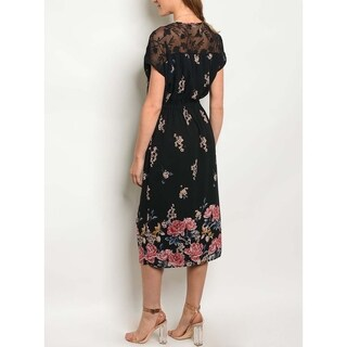 JED Women's Elastic Waist Floral Midi Dress