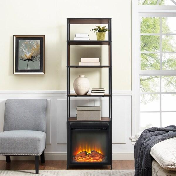 Metal And Wood Tower Bookshelf Fireplace