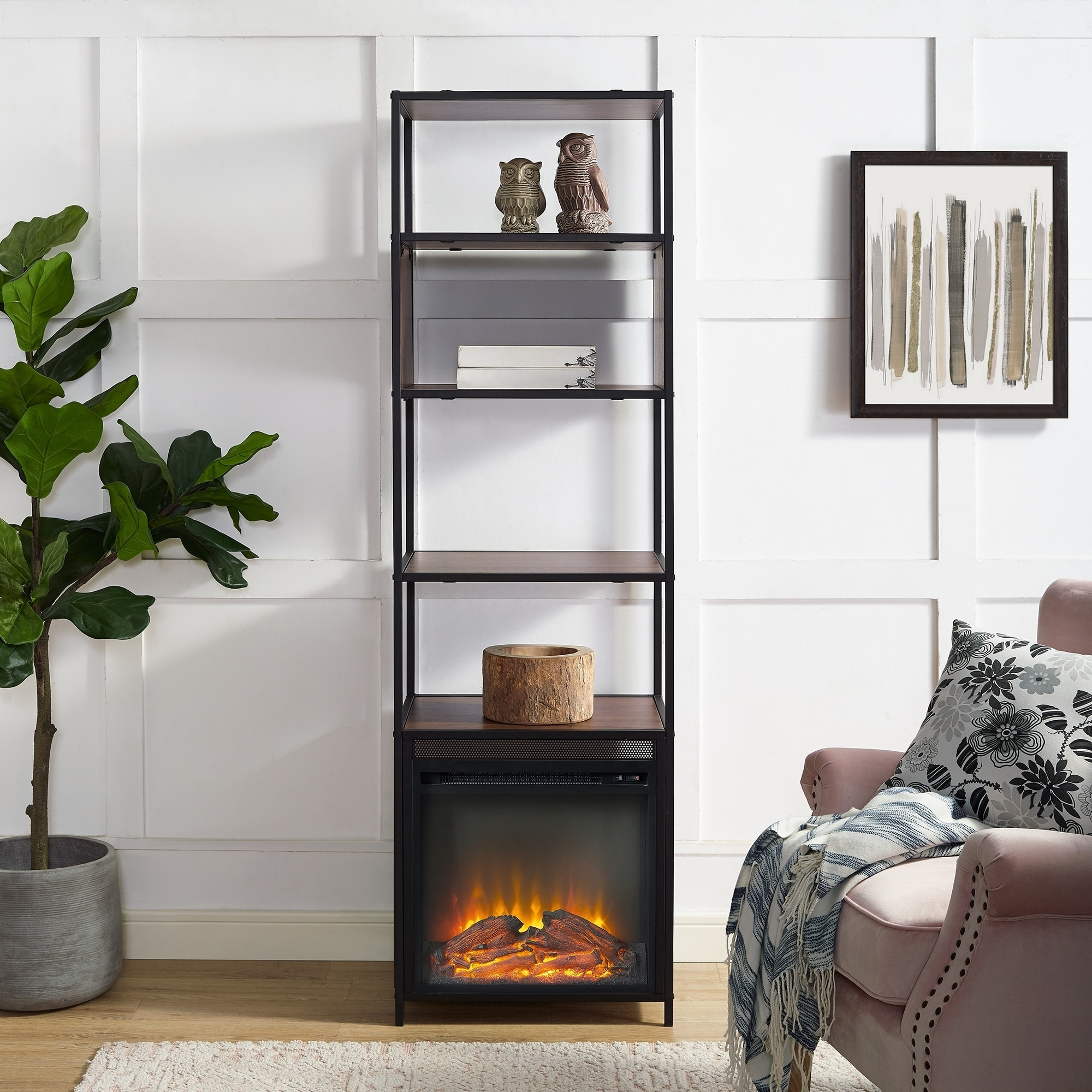 Metal And Wood Tower Bookshelf Fireplace 20 X