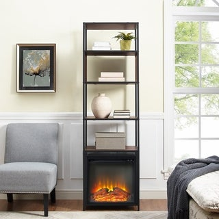70 Inch Industrial Metal and Wood Tower Bookshelf Fireplace (2 options available)
