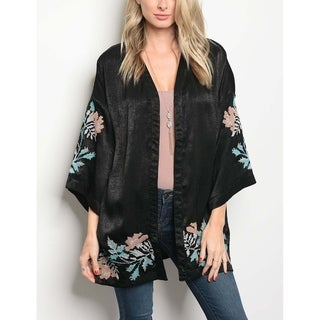 JED Women's Embroidered Satin Kimono Top