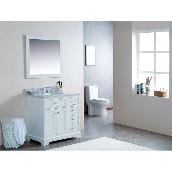 "36"" Moana White Single Modern Bathroom Vanity with White Marble Top - 36""w x 22""d x 34-1/4""h"