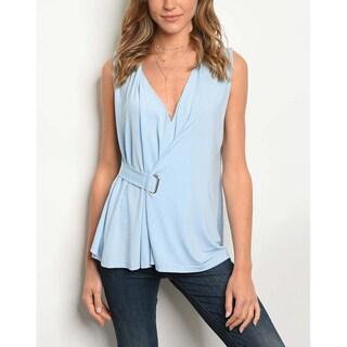 JED Women's Sleeveless Side Wrap V-Neck Top (Option: babyblue - s)