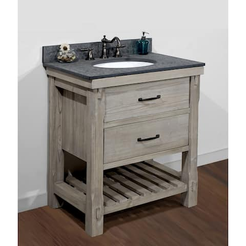 Infurniture Rustic-style 30-inch Single-sink Bathroom Vanity with Polished Textured Surface Granite Top-No faucet