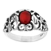 Sterling Silver and Red Coral Filigree Ring