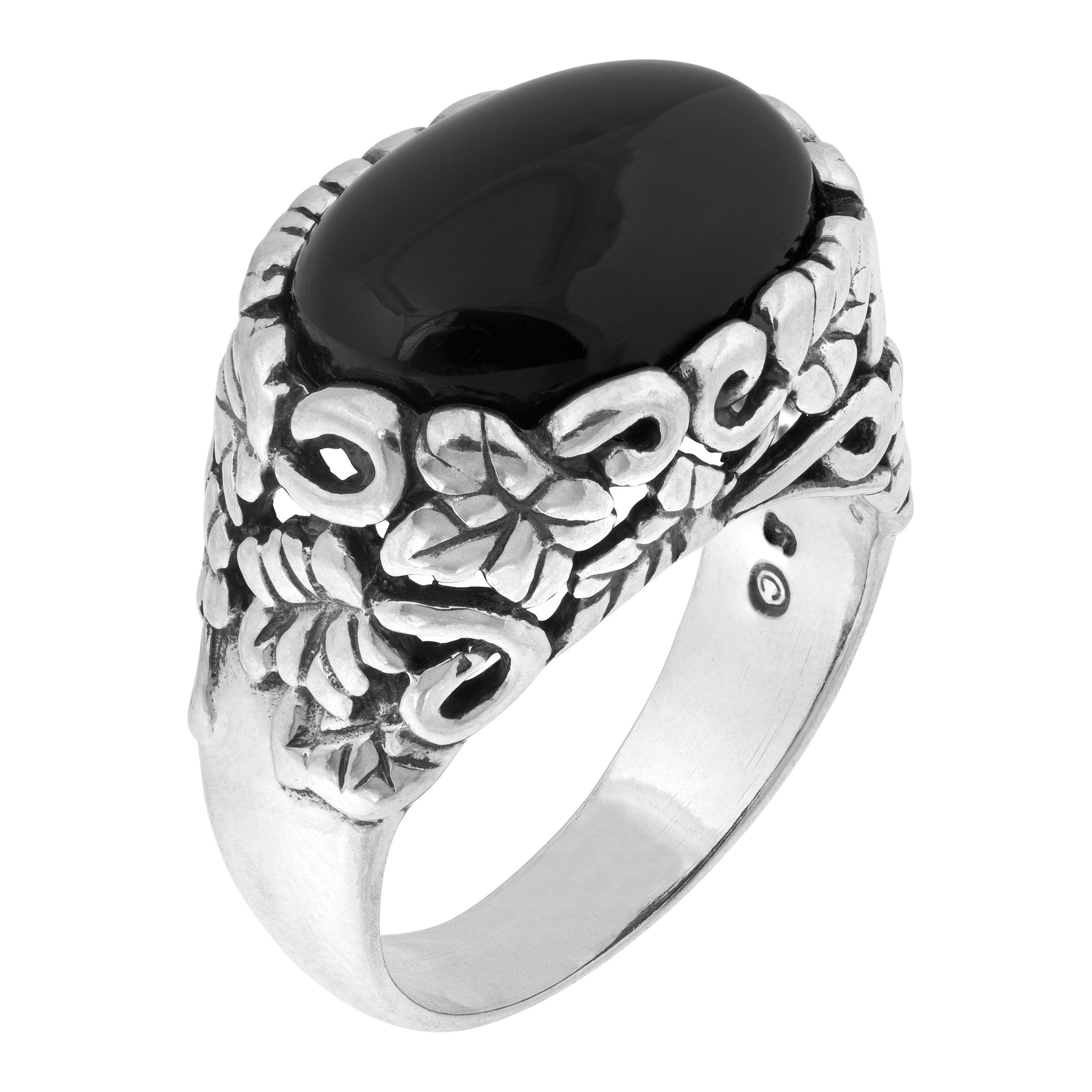 HIGH FINISH BLACK ONYX FASHION JEWELRY .925 SILVER PLATED RING 9 S22936