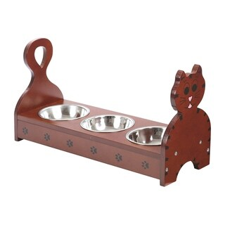 Wood Multible Cats Pets Feeder -Cat Feeding Station - Cat Food Bowls dishes with Stand