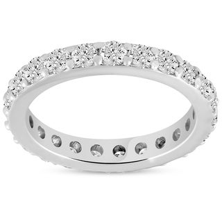 Bliss 14k White Gold 1 1/2 cttw Diamond Eternity Ring 14k White Gold Common Prong Stackable Band