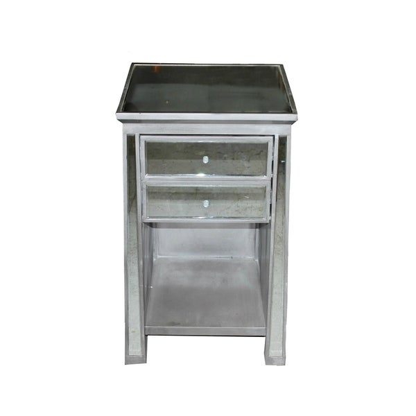 Drake Grey Metal Mirrored Nightstand