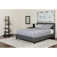 Roselle Full Size Dark Grey Fabric Platform Bed with Tufted Headboard