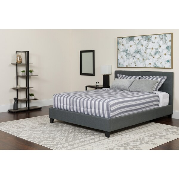 Shop Roselle Full Size Dark Grey Fabric Platform Bed With