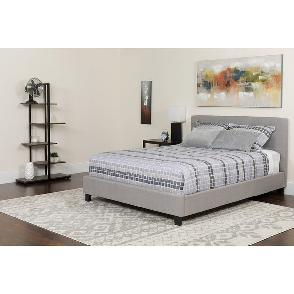 Shop Roselle Full Size Light Grey Fabric Platform Bed With