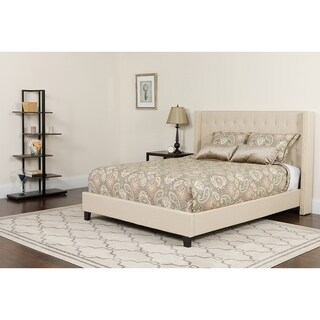 Conway Full Size Beige Wingback Button Tufted Platform Bed with Nailhead Trim