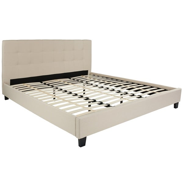 Roe King Size Beige Fabric Platform Bed With Tufted Headboard