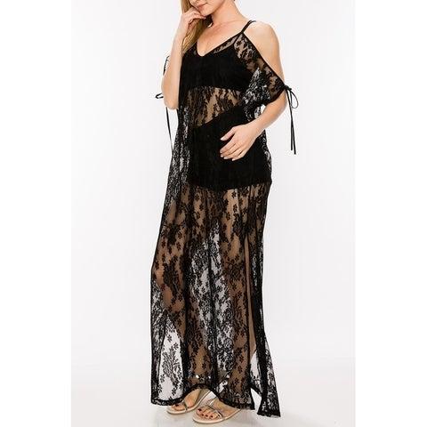 JED Women's Off-Shoulder Lace Maxi Dress Top
