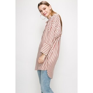 JED Women's High Low Hem Striped Collared Tunic Shirt