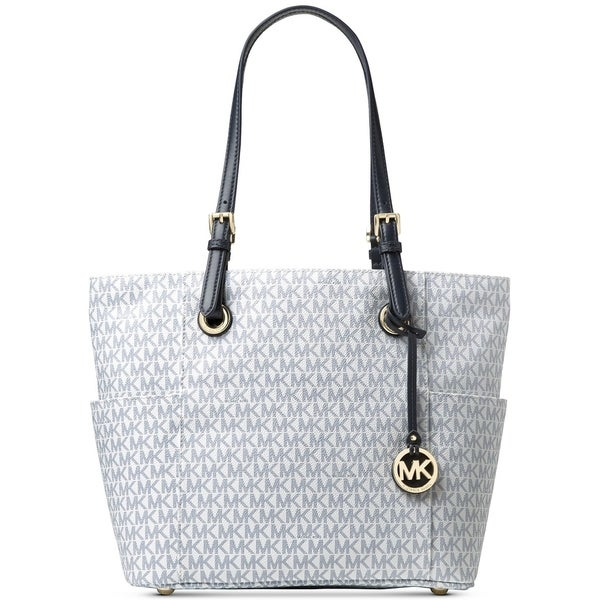 c7af5dfc07 MICHAEL Michael Kors Signature Jet Set East West Large Tote Optic White Navy