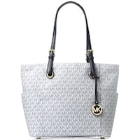 MICHAEL Michael Kors Signature Jet Set East West Large Tote Optic White/Navy