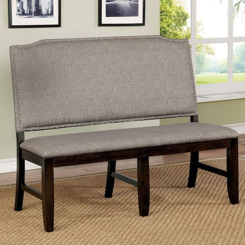 Furniture of America Fic Transitional Walnut Fabric Dining Bench