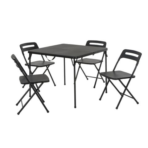 COSCO 5-piece Indoor/Outdoor Folding Black Table and 4 Chairs Set