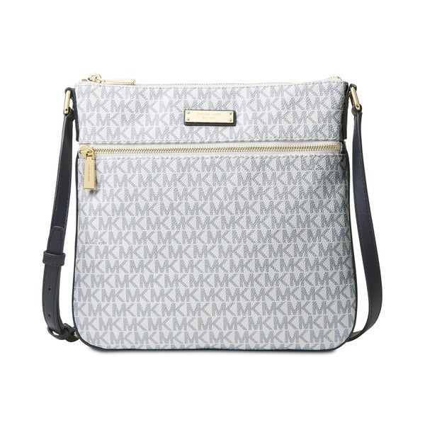92bb66b634e3ac MICHAEL Michael Kors Signature Bedford Flat Small Crossbody Optic White/navy