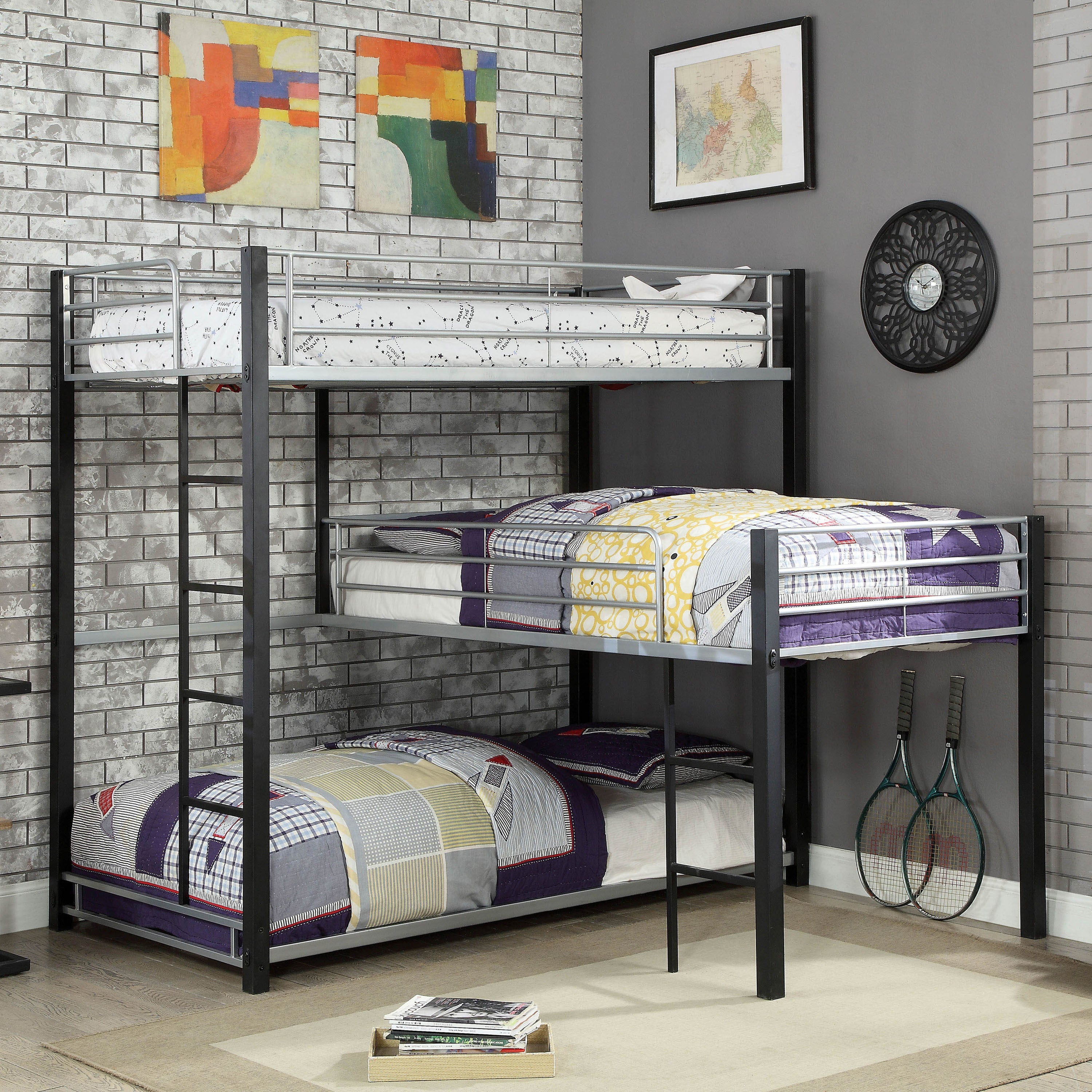 Furniture Of America Nathan Contemporary Triple Decker L Shaped Bunk