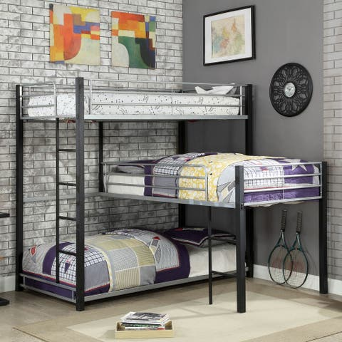 Furniture of America Hilt Contemporary Black Twin Triple Bunk Bed