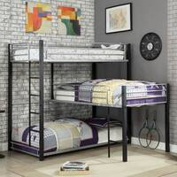 Furniture of America Nathan Contemporary Triple Decker L-Shaped Bunk Bed