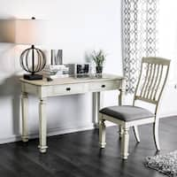 Furniture of America Perry Rustic 2-piece Antique White Desk and Chair Set