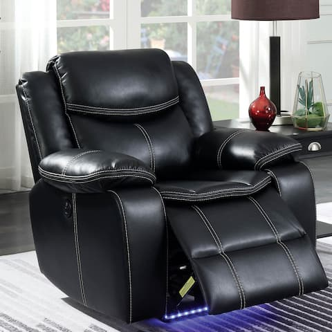 Furniture of America Nic Transitional Black Faux Leather Recliner