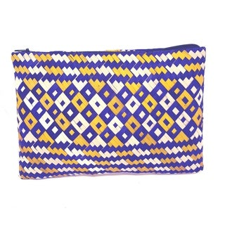 Handmade Palm Leaf Coin Purse Blue Yellow (Uganda)