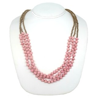 Handmade Recycled Paper Bead Najuma Necklace Pink Gold (Uganda)