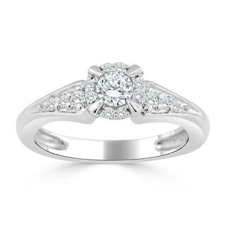 Auriya 14k Gold 3/8ct TDW Round Diamond Halo Engagement Ring